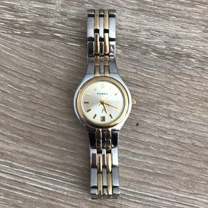 Vintage Fossil Silver / Gold Watch - Needs Battery